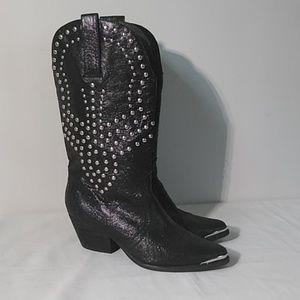 Reba leather cowgirl biker rhinestone black boots
